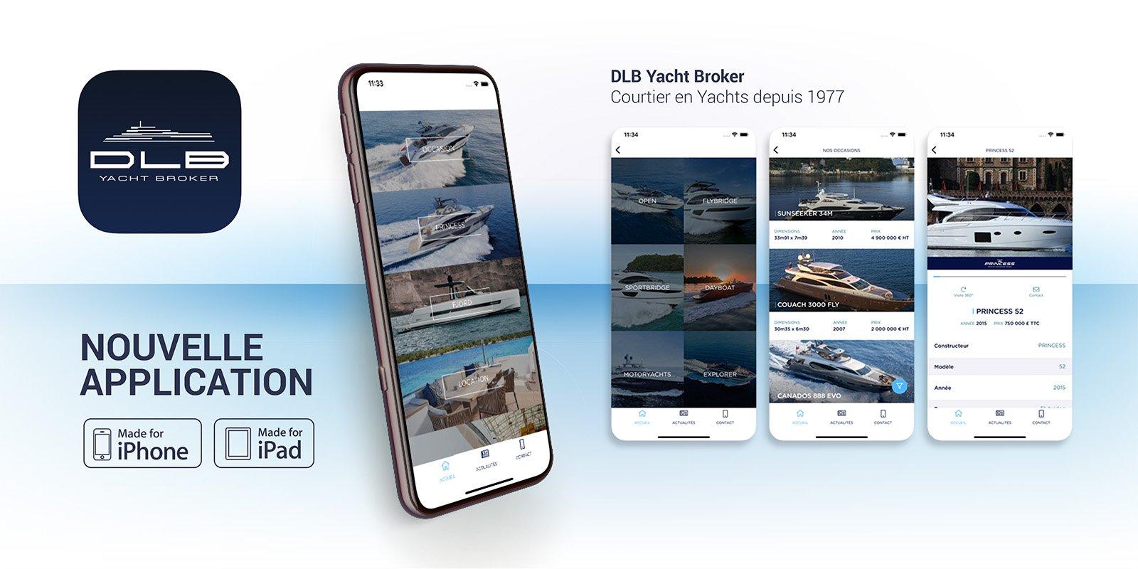 Nouvelle application DLB Yacht Broker disponible dans l'APPLE Store