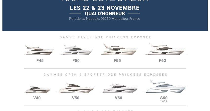 Portes Ouvertes PRINCESS Yachts France FJORD Côte d'Azur les 22 & 23 Novembre
